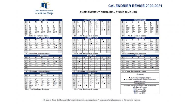Rappel : 3 journées modifiées au calendrier scolaire 2020-2021
